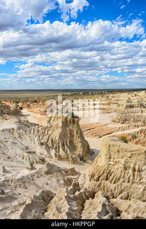 Spectacular eroded rock formations of the Lunette, Mungo National Park, New South Wales, Australia - Stock Photo