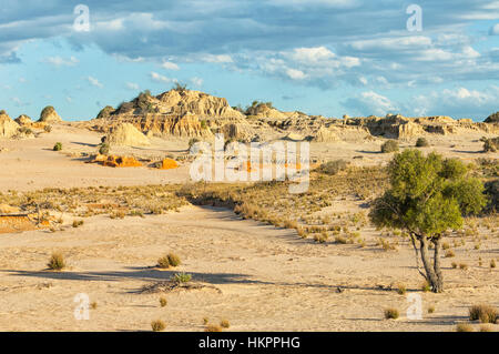 View of the Lunette, Mungo National Park, New South Wales, Australia - Stock Photo