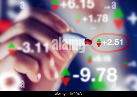 Businesswoman tracking stock market indicators, business trade and economy concept, hand with pen marking numbers. - Stock Photo