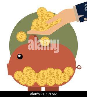 Money coins on hand and Piggy bank with coin over it. Modern Flat design vector illustration concept. - Stock Photo