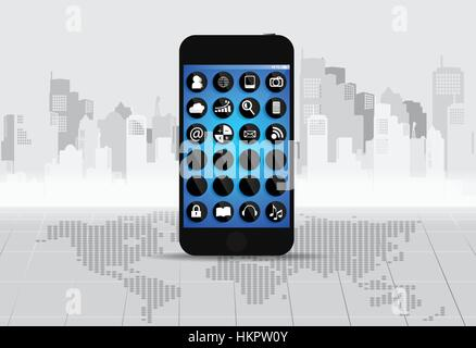 Touchscreen device with applications icons. Vector illustration. - Stock Photo