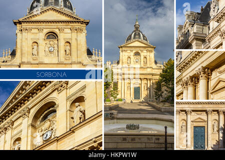 Historical house of Sorbonne the former University of Parisis edifice of the Latin Quarter in Paris, France. - Stock Photo