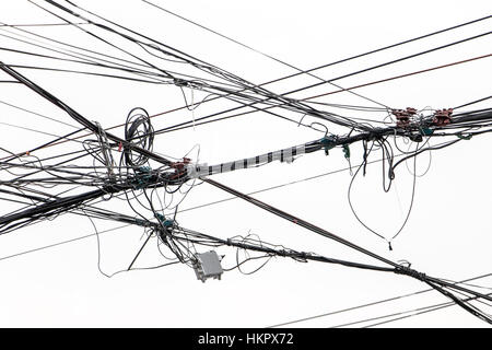 Chaos Of Wires On Cable Distribution Frame Stock Photo 164435188