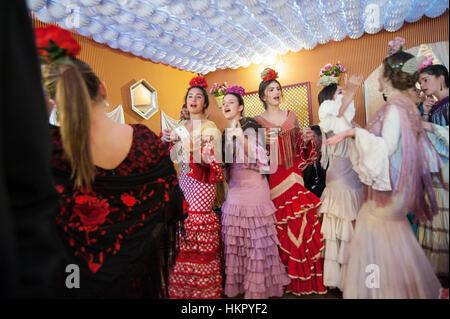 The Seville Fair (officially Feria de abril de Sevilla, 'Seville April Fair') is held in the Andalusian capital - Stock Photo