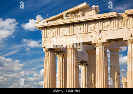 Athens - The Pathenon temple on The Acropolis and beautiful cloudscape - Stock Photo