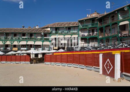 Plaza Mayor with Converted Bullring, Balconies, Chinchon, Spain - Stock Photo