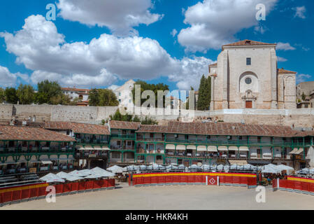 Plaza Mayor with converted Bullring, Chinchon, Spain - Stock Photo