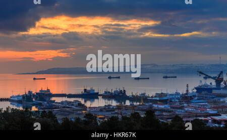 Baku panorama at sunset.Azerbaijan - Stock Photo