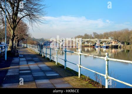 Richmond lock and Weir on the River Thames London UK - Stock Photo