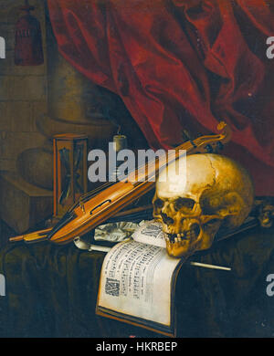 Carstian Luyckx - Vanitas still life with a skull, a violin, a musical score, a pipe and tobacco, an hourglass and - Stock Photo