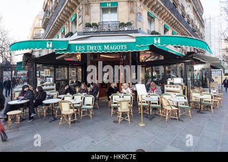 Les Deux Magots cafe restaurant, Paris, France - Stock Photo