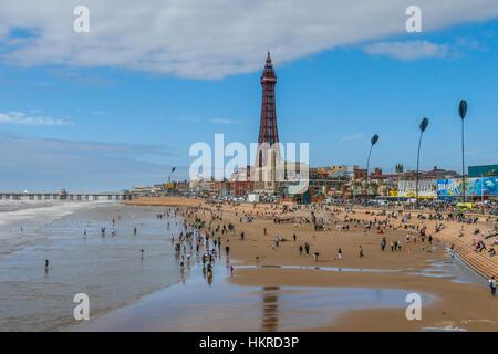 Blackpool sea front and Tower, Blackpool, Lancashire, England. - Stock Photo