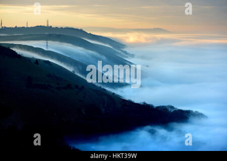 Low lying mist below the South Downs at Devil's Dyke, Sussex. UK - Stock Photo