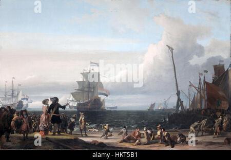 Dutch ships in the roadstead of Texel (the 'Gouden Leeuw' of Cornelis Tromp in the center)(Ludolf Backhuysen, 1671) - Stock Photo