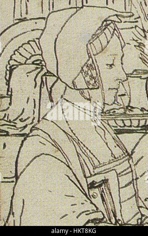 Elizabeth Dauncey, Detail of Study for portrait of the More family, by Hans Holbein the Younger - Stock Photo