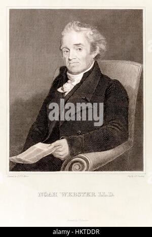 Noah Webster (1758-1843) American lexicographer who's comprehensive 'An American Dictionary of the English Language' - Stock Photo