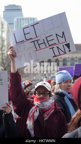 Boston, USA. 29th January, 2017.  Thousands of demonstrators filled Copley Square in central Boston protesting President - Stock Photo
