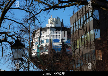Berlin, Germany. 27th Jan, 2017. The futuristic pop-architecture building of the 1970s, the so-called 'Bierpinsel' - Stock Photo