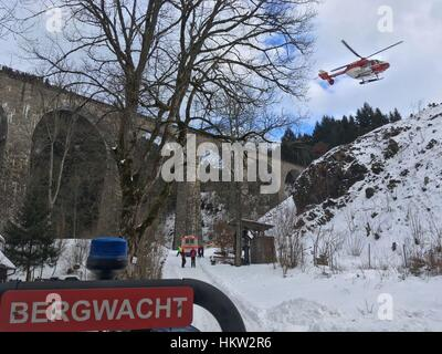 Breitnau, Germany. 29th Jan, 2017. HANDOUT - Rescue helicopter Christoph 54 lands at the Ravenna gorge near Breitnau, - Stock Photo