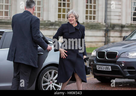 Cardiff, Wales, UK, January 30th 2017. UK Prime Minister Theresa May arrives at Cardiff City Hall for Brexit talks - Stock Photo