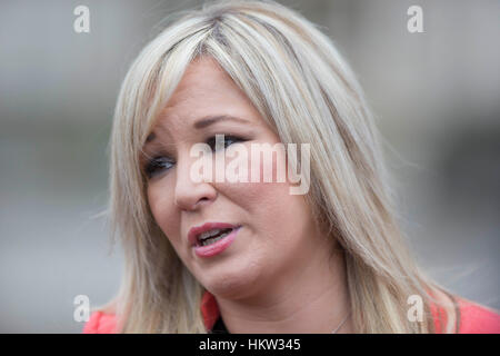 Cardiff, Wales, UK, January 30th 2017. Sinn Fein leader Michelle O'Neill addresses the press at Cardiff City Hall - Stock Photo
