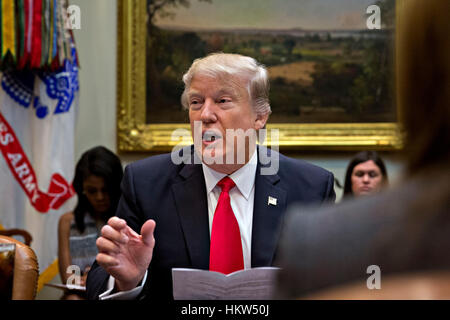 Washington, DC, USA. 30th Jan, 2017. U.S. President Donald Trump speaks as he meets with small business leaders - Stock Photo