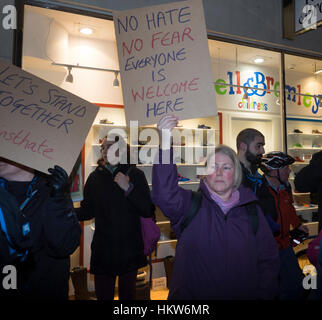 Exeter, UK. 30th Jan, 2017. Demonstration against Trump closure of US borders to Muslim-majority countries in Bedford, - Stock Photo