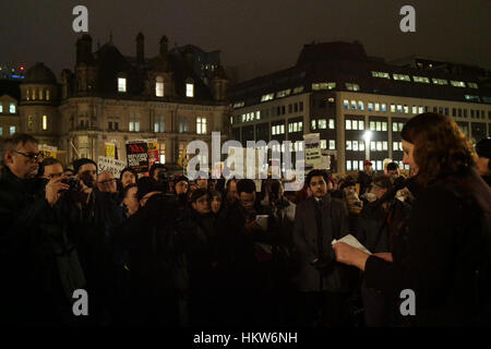 Birmingham, UK. 30th Jan, 2017. Demonstration against American President Donald Trump's stance on immigration to - Stock Photo