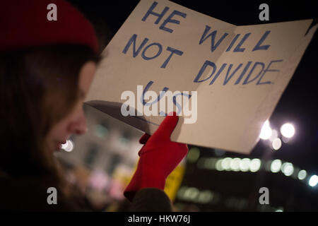 Glasgow, UK. 30th Jan, 2017. Protest against the policies and Presidency of Donald Trump, President of the United - Stock Photo
