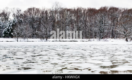 spring season - melting ice floes on surface of river in twilight - Stock Photo