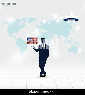 Happy independence day, 4th of July. Businessman showing American Flag. Vector illustration. - Stock Photo