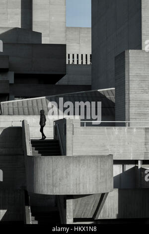 Side view of the Royal National Theatre, London, designed by Denys Lasdun. - Stock Photo