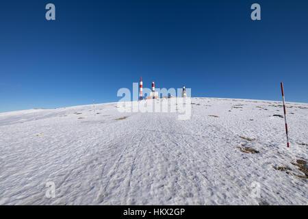 landscape of snow mountain summit, named Bola del Mundo, World Ball, in Navacerrada, Sierra de Guadarrama National - Stock Photo