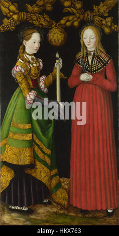 Lucas Cranach the Elder - Saints Genevieve and Apollonia - Google Art Project - Stock Photo