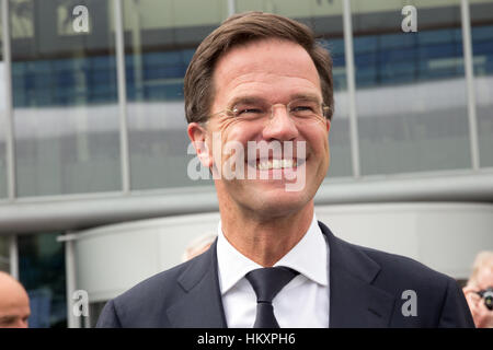 AMSTERDAM - APRIL 16, 2015: Dutch Prime Minister Mark Rutte attends the opening of the AutoRAI 2015. - Stock Photo