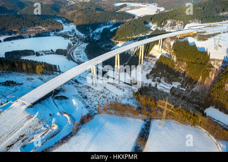 Valley bridge Nuttlar, new building, highest bridge NRW s, motorway construction A46, Bestwig, Sauerland, North - Stock Photo