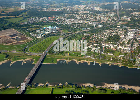 Motorway bridge over the Rhine, A1, near Leverkusen, Rhineland, North Rhine-Westphalia, Germany - Stock Photo