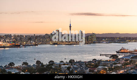 Sunset, Waitemata Harbour, Sky Tower, skyline with skyscrapers, Central Business District, Auckland Region, North - Stock Photo