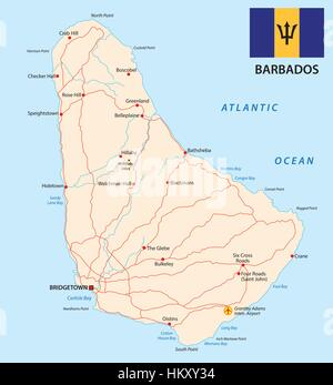 Barbados road vector map with flag - Stock Photo