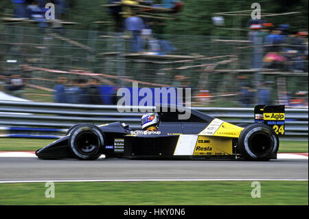 1991 Gianni Morbidelli Italian Minardi M191 Imola San Marino GP dnf FL - Stock Photo