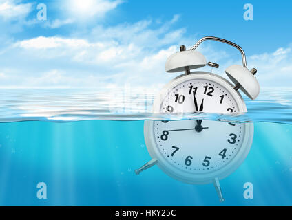 Clock in water, waste of time concept - Stock Photo