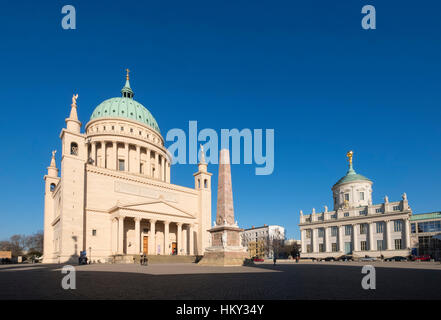 Nikolaikirche church and Potsdam Museum  in the Alter Markt (Old Market) Potsdam , Germany - Stock Photo