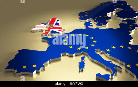 Map of europe with the national flag colours. Brexit referendum UK - United Kingdom, Great Britain or England leaving - Stock Photo
