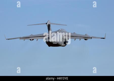 GILZE RIJEN, NETHERLANDS - SEP 7, 2016: Hungarian Air Force Boeing C-17 Globemaster III take off. The plane belongs - Stock Photo