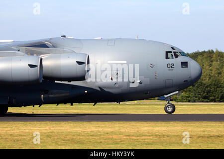 GILZE RIJEN, THE NETHERLANDS - Hungarian Air Force Boeing C-17 Globemaster III touch-and-go.The plane belongs to - Stock Photo