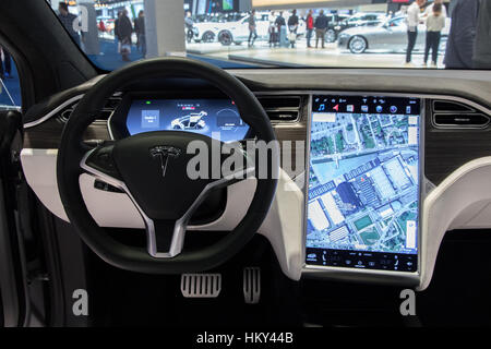 Tesla Electric Drive Car Interior Closeup At First International