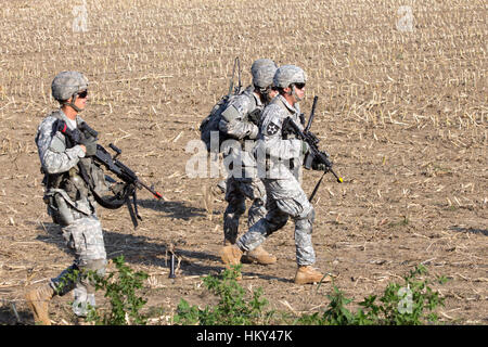GRAVE, NETHERLANDS - SEP 17: US soldiers of the 82nd Airborne Division at the Operation Market Garden Memorial on - Stock Photo