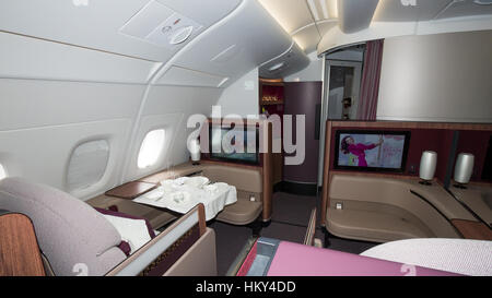 PARIS - JUN 18, 2015: Premium Class cabin in the Qatar Airways Airbus A350. Qatar Airways is the first user of the - Stock Photo