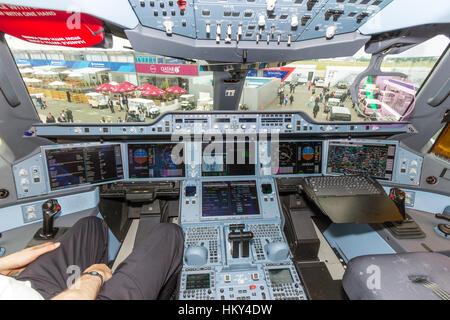 PARIS - JUN 18, 2015: Qatar Airways Airbus A350 XWB cockpit. Qatar Airways is the first user of the A350 with it's - Stock Photo
