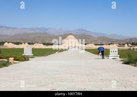 The path to the Tomb No. 3 at Western Xia Imperial Tombs. Yinchuan, Ningxia, China - Stock Photo